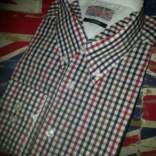 Navy blue and red check shirt