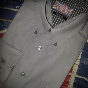 Grey shirt with grey stripe trim